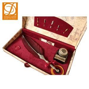 羽ペン ダライッティ(DALLAITI) デコレーション羽根ペン&ペン置き付インクポットセット 赤 BX03|nomado1230
