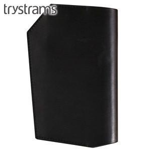 ブックカバー 革 トライストラムス(trystrams) 野帳カバー ブラック THA-KN01D|nomado1230