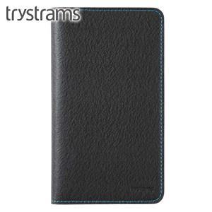 ブックカバー トライストラムス(trystrams) 野帳カバー ブラック×ライトブルー THF-KN08DLB|nomado1230