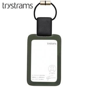 IDカードケース トライストラムス(trystrams) Smooth IDカードホルダー ループ縦 カーキ THF-MG03G nomado1230