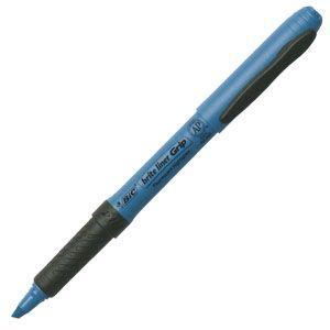 ビック(BIC) ステーショナリー ブライトライナー グリップ 蛍光マーカー 12本セット (ブルー) BRIGRIP12BLU|nomado1230