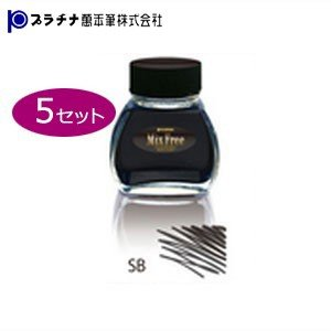 プラチナ万年筆 ミックスフリー 水性染料インク 同色5個セット スモークブラック INKM12005SB|nomado1230