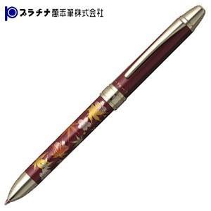 高級 マルチペン 名入れ プラチナ万年筆 ダブルアクションR3 近代蒔絵 マルチペン ワインレッド・春秋 MWB-3000RM71-2|nomado1230