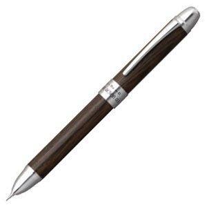 高級 名入れ プラチナ万年筆 ダブルR3アクション 木製 コーディア材 シャープペンシル0.5ミリ+油性ボールペン黒・赤 多機能ペン ブラック MWB-3000RWcl1|nomado1230