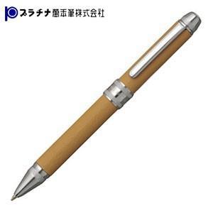 高級 マルチペン プラチナ万年筆 ダブルR3アクション 牛本革巻き シャープペン+ボールペン黒・赤 多機能ペン ベージュ MWBL-3000-31|nomado1230