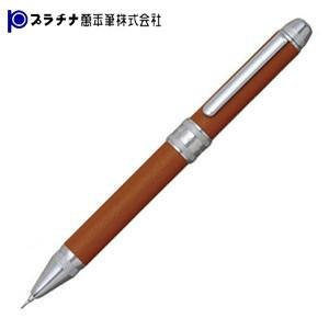 高級 マルチペン プラチナ万年筆 ダブルR3アクション 牛本革巻き シャープペン+ボールペン黒・赤 多機能ペン キャメル MWBL-3000-62|nomado1230