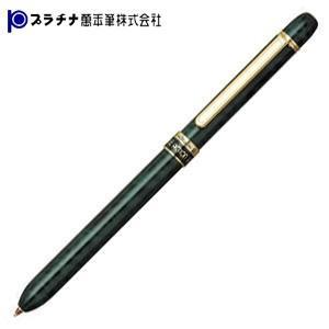 高級 マルチペン 名入れ プラチナ万年筆 ダブル3アクション マーブルカラー スーパースリム ゴールドクリップ マルチペン グリーンマーブル MWBS-2000cl41|nomado1230