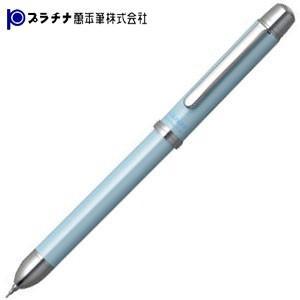 高級 プラチナ万年筆 ダブル3アクション サラボ ソフトパールカラー シャープペンシル+低粘度油性ボールペン極細黒+赤 多機能ペン ベビーブルー MWBT-2000-59|nomado1230