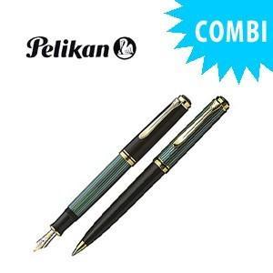 ペリカン スペシャルコンビセット スーベレーン 600シリーズ 万年筆&ボールペン クリーニングクロス付き 緑縞 M600 GRCOMBISET|nomado1230