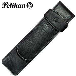 ペンケース 革 名入れ ペリカン レザー ペンケース 2本用 ブラック TG-21|nomado1230