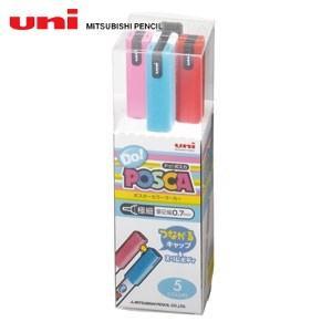水性ペン類 三菱鉛筆 ドゥポスカ 5色セット PC-1MD5C|nomado1230