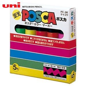 水性ペン類 三菱鉛筆 蛍光ポスカ 太字タイプ 5色セット PC-8KK5C|nomado1230