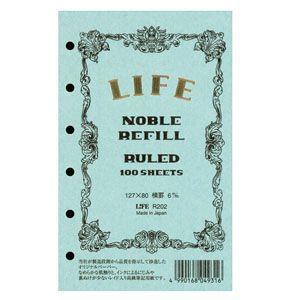 リフィル ポケットサイズ ライフ ミニ6穴 横罫6ミリ本文100枚6穴 5冊セット ノーブルリフィール R202|nomado1230