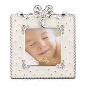 フォトフレーム 写真立て ラドンナ ベビーコレクション スタンド型 リボンチャーム・ムーン ホワイト ミニサイズ アルバム・フォトフレーム MB31-S2-WH|nomado1230