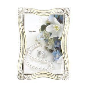 フォトフレーム 写真立て ラドンナ ブライダルコレクション シルクリボンフレーム ポストカードサイズ アルバム・フォトフレーム ホワイト MJ70-P-WH|nomado1230