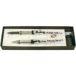 ガラスペン セット ルビナート ガラス ホルダーペン クリア インクセット デコレイト メタル&ペンシル 7380-D|nomado1230