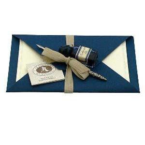 ギフト つけペン ルビナート Amalfiシリーズ ピューター製ホルダーペン インク付き&ハガキサイズタイプ レターセット カード&封筒 各5枚入り CA1|nomado1230