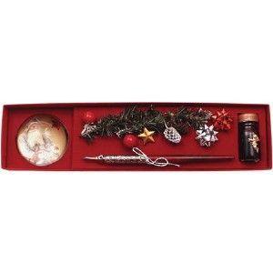 つけペン ギフト ルビナート クリスマスライン カラー ウッディー ホルダーペン ペーパーウェイト付き ミニインクセット MC-06|nomado1230
