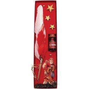羽ペン ルビナート クリスマスライン デコラティブ メタルハンドル 羽根ペン ミニインクセット MC-11|nomado1230
