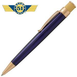 高級 ボールペン 名入れ レトロ51 ゴールドライン トルネード ボールペン ブルー/ゴールド VRR-G1307|nomado1230