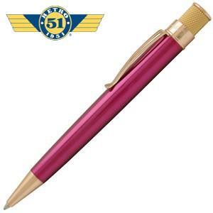 高級 ボールペン 名入れ レトロ51 ゴールドライン トルネード ボールペン ピンク/ゴールド VRR-G1313|nomado1230
