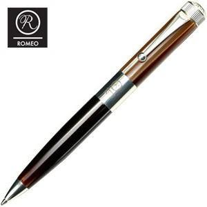 ROMEO ボールペン 名入れ ロメオ(ROMEO) No.3 ボールペン 太軸 ブラウン/ロジウムメッキ R-122 nomado1230