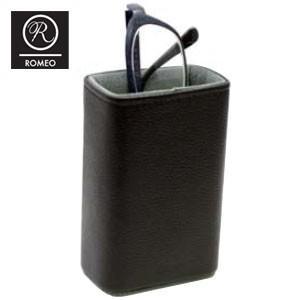オシャレ メガネスタンド 革 名入れ ロメオ(ROMEO) メガネスタンド ブラック R15|nomado1230