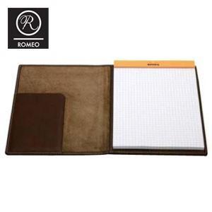 レポートパッド 革 ロメオ(ROMEO) オイルキップ Mサイズ メモパッド ブラウン RB05|nomado1230