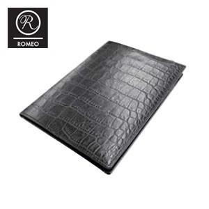 レポートパッド 革 ロメオ(ROMEO) クロコ型押し Mサイズ メモパッド 黒 RLC05BK|nomado1230