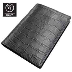 ブックカバー おしゃれ 革 ロメオ(ROMEO) クロコ型押し ブックカバー 黒 RLC16BK|nomado1230