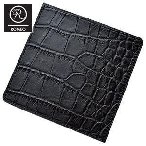 メンズ 2つ折 財布 革 ロメオ(ROMEO) クロコ型押し フラット財布 エンボス加工 ブラック RLC-21BK|nomado1230