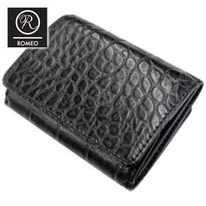 メンズ 3つ折 財布 革 名入れ ロメオ(ROMEO) クロコ型押し 三つ折り財布 黒 RLC22BK|nomado1230