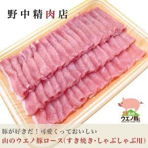 豚肉 送料無料 山のウエノ豚ロース(すき焼き・しゃぶしゃぶ用)8〜10人分(700g)