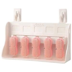 アルボース 爪ブラシ ハンドブラシボックスセット(ボックス1個・ブラシ5個・専用フック付) ピンク nontarou