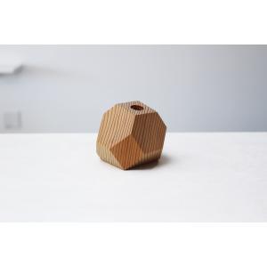 一点物の木製一輪挿し 木工アーティスト FUQUGI フクギ VASE  一輪挿し フラワーベース 花瓶 BRN No3 ハンドメイド 職人の器 作家物 作家の器|nontitletokyo