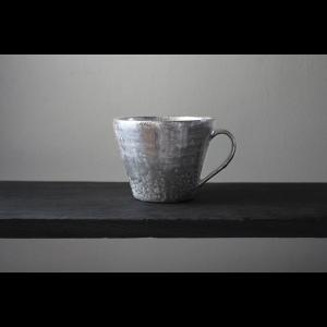 作家物 陶芸作家    谷井直人   銀彩 マグカップ コーヒーカップ シルバー 作家の器 |nontitletokyo