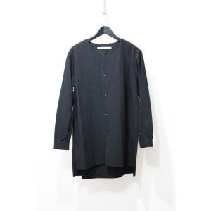 VITAL ヴァイタル Over Size No Collar Shirt   ノーカラーシャツ BLK ブラック 黒 S-M|nontitletokyo