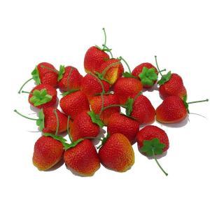 かわいい イチゴ 食品サンプル 20個セット ケーキ屋さん 果物屋さんの ディスプレイなどにも|noon-store