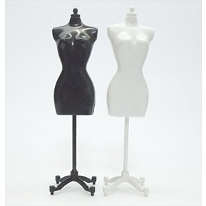 アウトレット品 人形用 ドール サイズ マネキン トルソー ドレスフォーム 白・黒 1個ずつセット ノーブランド品B1W1|noon-store