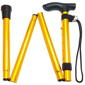 ヨロズヘルスケア らくらくステッキ 折りたたみ 杖 つえ 軽量 折り畳み伸縮式アルミステッキ(ゴールド) noon-store