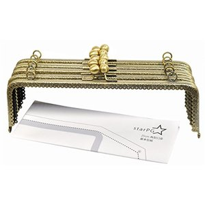 starPG 大型 がま口 口金 25cm 角型 5個 セット 型紙付き ハンドメイド用 (アンティークゴールド F型)|noon-store