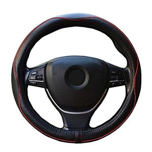 ZATOOTO ハンドルカバー 軽自動車 Sサイズ 本革 高級感 手触りよし 厚め クラウン フィット BMWなど用ステアリングカバー レッ noon-store