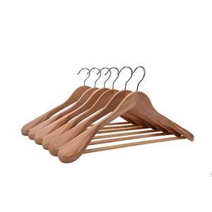 木製ハンガーセット 洋服 スーツ コート用ハンガー 手作 天然高級木 (ナチュラル/6本)|noon-store
