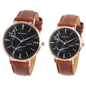 ペア腕時計ボックス(リングも収納可能)プレゼント中!  ブルッキアーナのラウンド型レザーウォッチのペ...