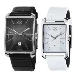 【ペア腕時計BOX付き】カルバンクライン CK ペアウォッチ ウィンドウ モノクロセット 黒 白 レザー K2M21107K2M23120 あすつく 腕時計|nopple