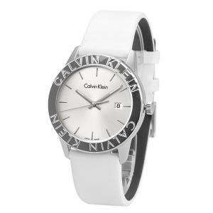 カルバンクライン CK メンズ レディース シルバー ホワイトレザー 白 革 モダン ユニセックス ペアにもおすすめ K7Q211L6 あすつく 腕時計|nopple