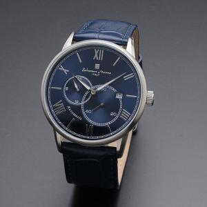 サルバトーレマーラ メンズ シルバーケース ブルー レザー オートマチック 機械式 自動巻き SM18104-SSBL あすつく 腕時計 nopple