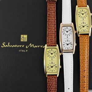 【選べる5カラー】国内正規品 サルバトーレマーラ レディース 海外旅行に便利 デュアルタイム 2つの時間 レトロ アンティーク調 レザー SM19155 あすつく 腕時計 nopple