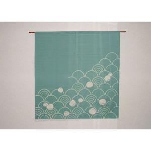 波のれん 緑(丈90cm)|norenya-kyo