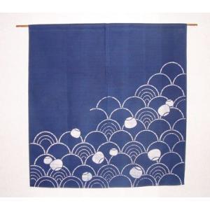 波のれん 紺(丈90cm)|norenya-kyo